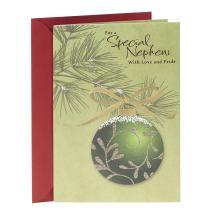 Hallmark Christmas Card for Nephew (Green Ornament)