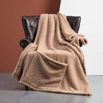 FFLMYUHUL I U Ultra Super Soft Lightweight Cozy Throw Blanket for Bed Couch Warm Fuzzy Sherpa Blanket/Throw Blanket for Shower Gift 50'' X 70'' Khaki