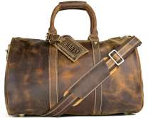 WALL ST MAKER The Weekender Large Duffel Bag Genuine Leather Tote Carry-On Travel Bag (Brown)