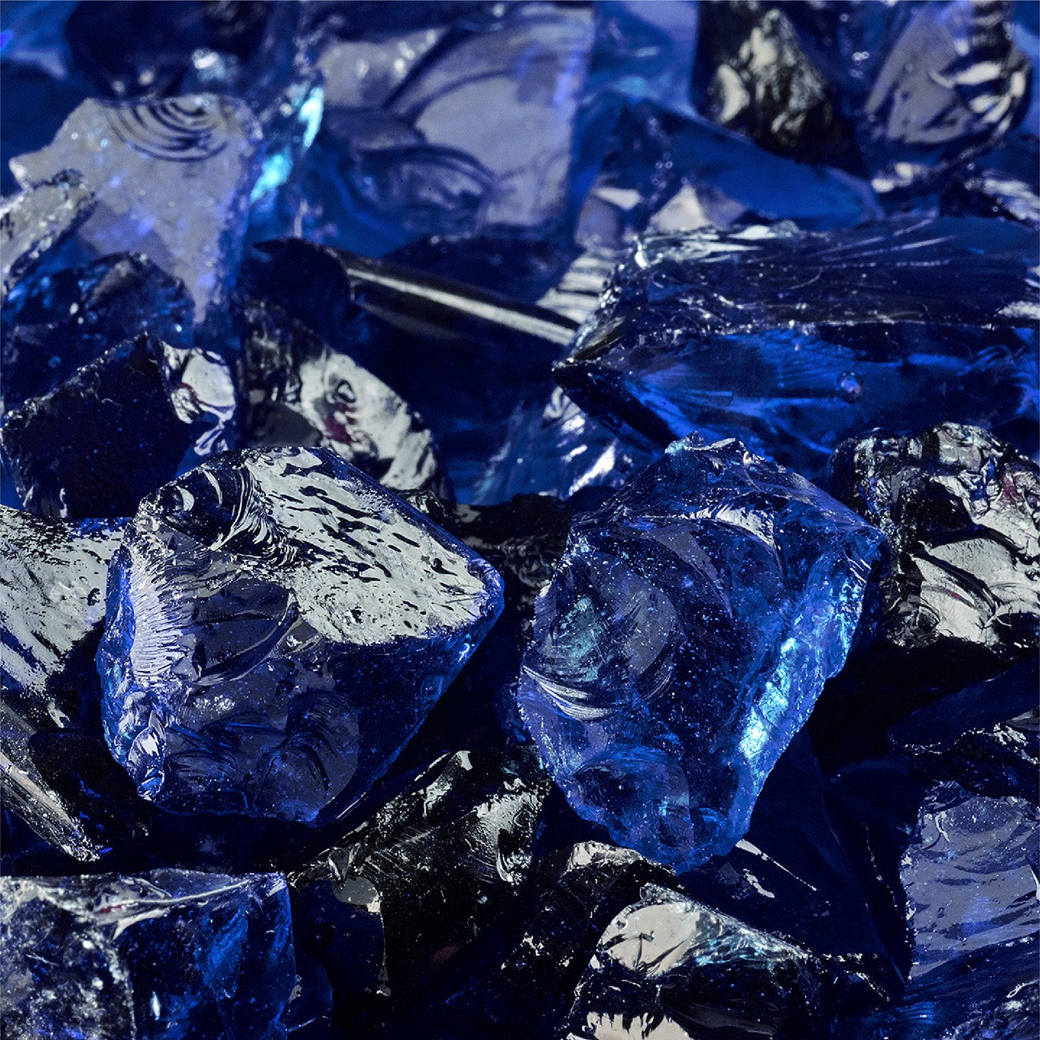 Deep Sea Blue - Crushed Fire Glass for Indoor and Outdoor Fire Pits or Fireplaces | 10 Pounds | 1/2 Inch - 3/4 Inch