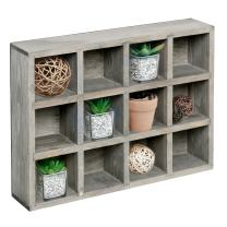 MyGift 12 Compartment Dark Gray Wood Freestanding or Wall Mounted Shadow Box, Display Shelf Shelving Unit