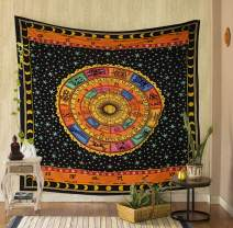 THE ART BOX Hand Painted Zodiac Tapestry Wall Hanging Horoscope Tapestry Dorm Room Tapestries Hippie Tapestry Indian Astrology Trippy Celtic Psychedelic Tapestry Wall Hanging Space Rashi Tapestry