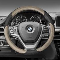 FH Group FH2001BEIGEBLACK Steering Wheel Cover (Perforated Genuine Leather Beige/Black)
