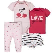 Gerber Baby Girls' 4-Piece Shirt, Bodysuit, Pant and Skirted Ruffle Panty
