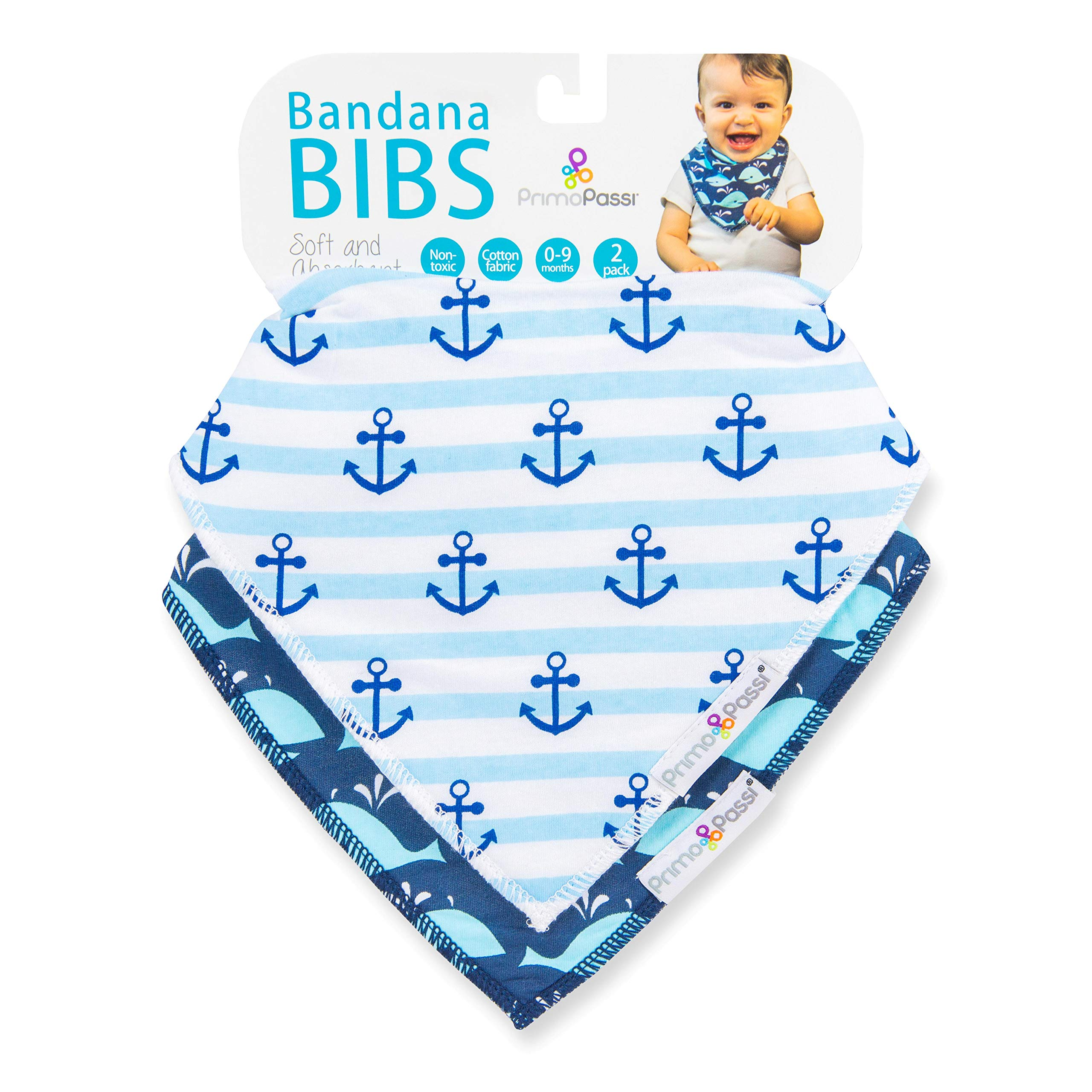 Primo Passi 2 Pack Baby Bandana Drool Bibs by Primo Passi I Best Teething and Drooling Absorbent Cotton I Nickle Free adjustable Snap I Baby Boys & Girls (Whale)