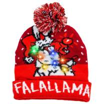 JOYIN Christmas LED Light Up Knitted Beanie Cap Ugly Sweater Lit-up Hat with 6 Different Flashing Modes