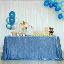 B-COOL Sequin Tablecloth 60x102inch Baby Blue Rectangle Shimmer Durable Wediing Party Restaurant Christmas Everyday Use