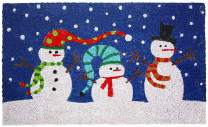 J & M Home Fashions Holiday Snowmen with Hats Vinyl Back Coco Doormat, 18-Inch by 30-Inch