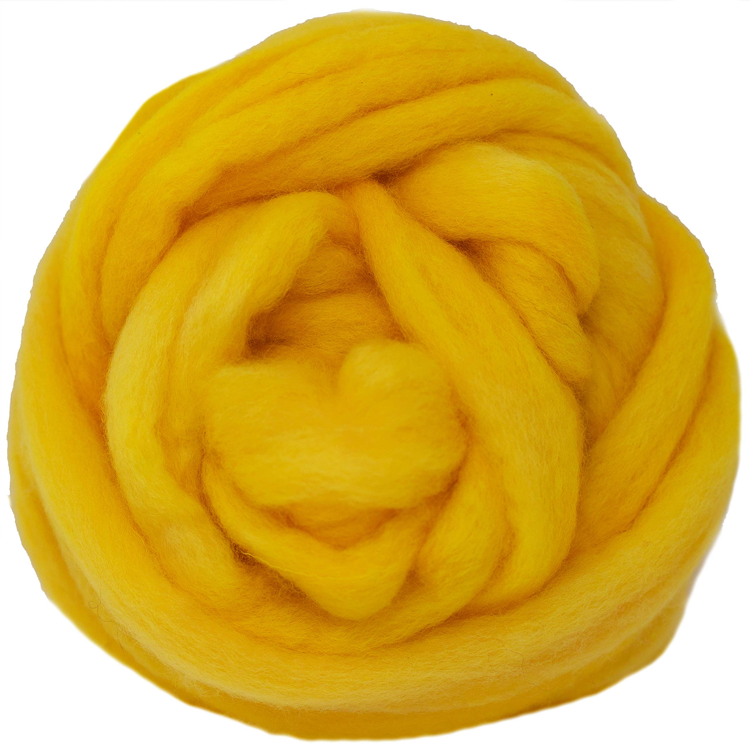 Wool Roving Hand Dyed. Super Soft BFL Combed Top Pre-Drafted for Easy Hand Spinning. Artisanal Craft Fiber ideal for Felting, Weaving, Wall Hangings and Embellishments. 4 Ounce. Yellow