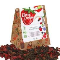Ecoflavour Berry Dream Sweet Tea with Berries, Handmade Herbal Tea Blend, 10 Premium Organic Herbs and Berries, Green Tea, Detox Tea, Sugar Free, Caffeine Free, Makes a Great Immune Booster, 30g