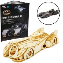 "DC Batman and Batman Returns Batmobile Signature Series Book and 3D Wood Model Figure Kit - Build, Paint and Collect Your Own Toy Model - for Kids and Adults, 12+ - 7"" Long"