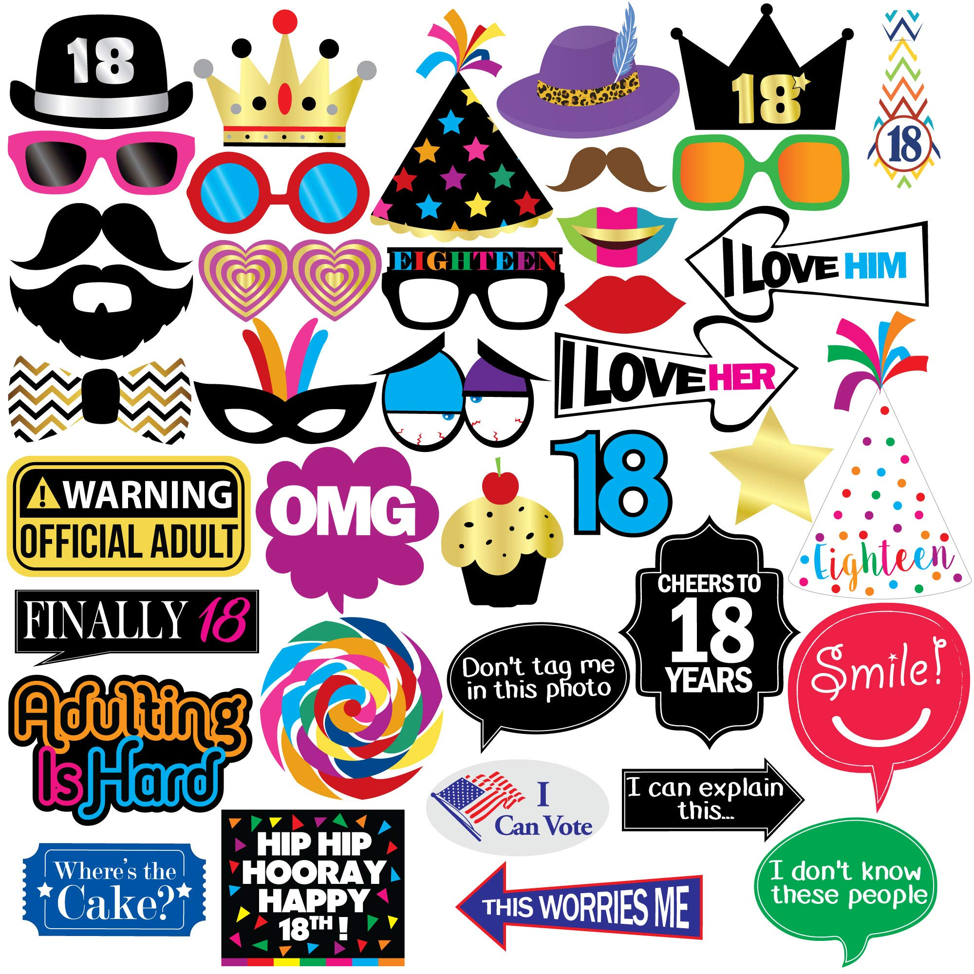 18th Birthday Photo Booth Party Props - 40 Pieces - Funny 18th Birthday Party Supplies, Decorations and Favors