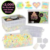 2,000 Piece Glow in the Dark XL Biggie Fuse Bead Kit- Immediate Shipping 3 XL Pegboards, 7 Colors, 6 Unique Templates, Ironing Paper and Case - Works with Biggie Larger Perler Beads, Pixel Art Project