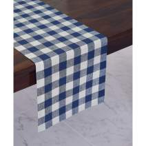 Solino Home 100% Pure Linen Checks Table Runner – Blue & White Check Table Runner – 14 x 72 Inch Runner for Dinner, Indoor and Outdoor Use