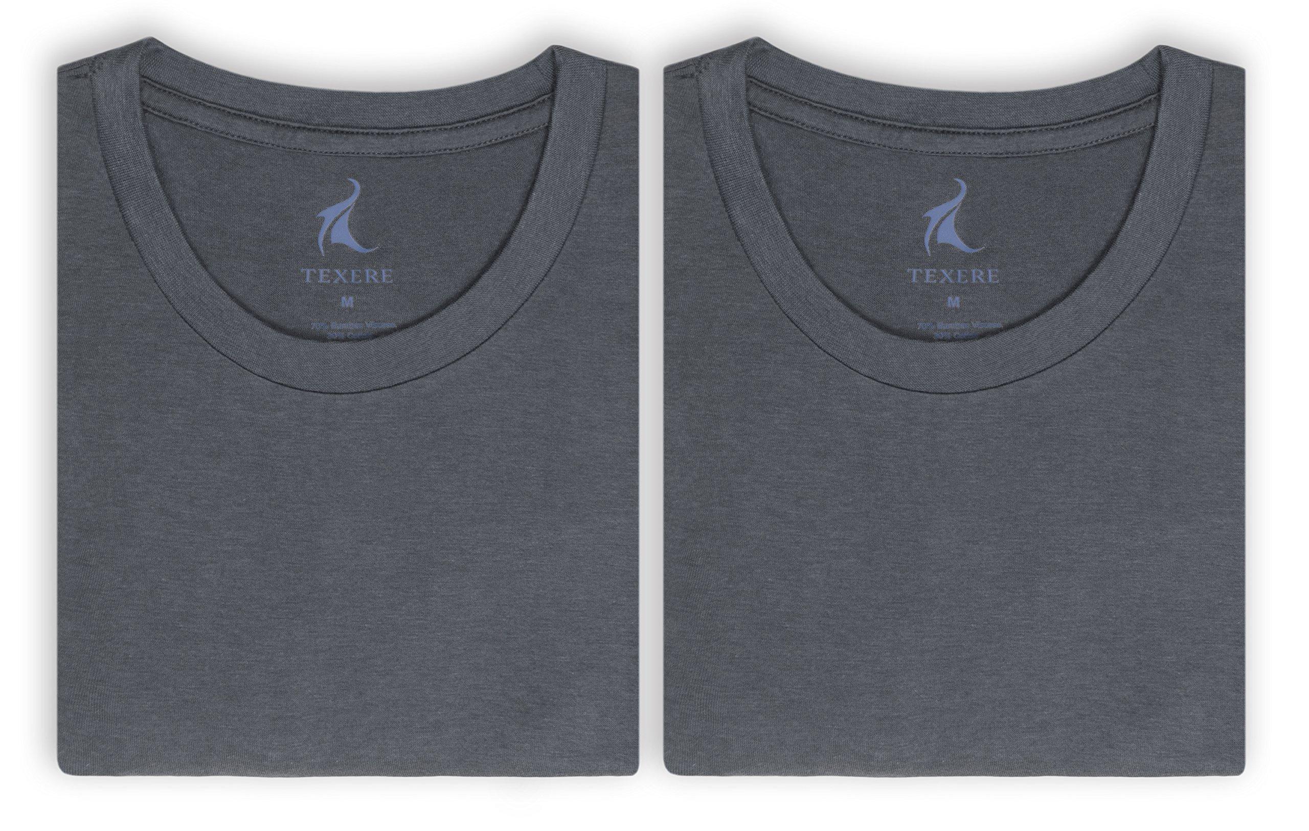 Texere Crew Neck Undershirt for Men (Dexx, Charcoal, XXL) Super Soft Loungewear