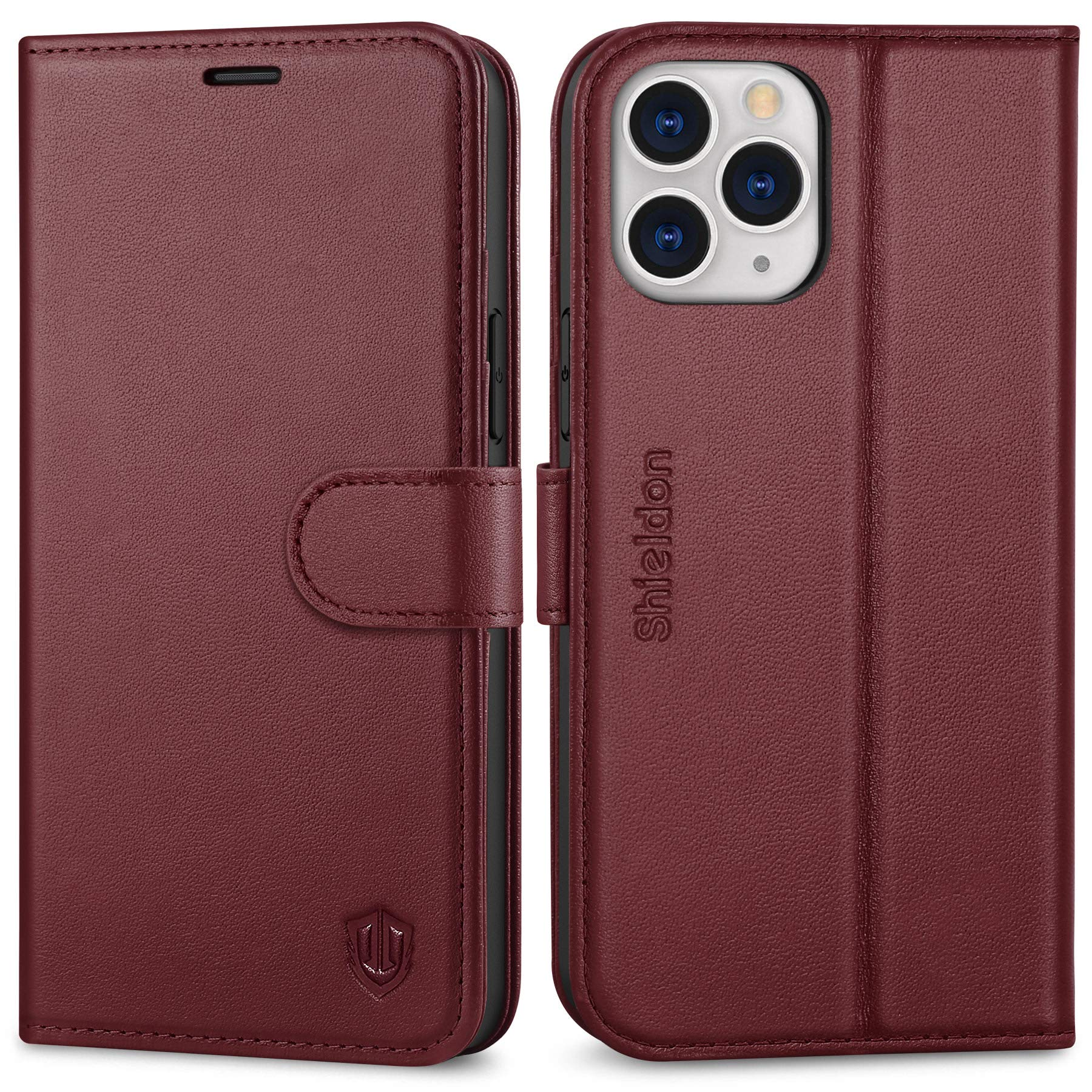 """SHIELDON Case for iPhone 12 Pro Max, Wallet Case for iPhone 12 Pro Max Genuine Leather Magnetic Folio Shockproof Cover Kickstand RFID Card Slots Compatible with iPhone 12 Pro Max (6.7"""") - Wine Red"""