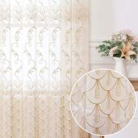 Jiyoyo Embroidered Lace Sheer Curtain for Living Room Bedroom,Rod Pocket Flower Voile Drapes/Panels, (Beige with Silver Threading Embroidery, 50 by 102 Inch,1 Panel)