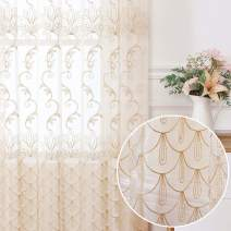 Jiyoyo Embroidered Lace Sheer Curtain for Living Room Bedroom,Rod Pocket Flower Voile Drapes/Panels, ( Beige with Silver Threading Embroidery , 50 by 63 Inch,1 Panel)