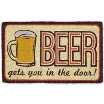 """DII Indoor/Outdoor Natural Coir Easy Clean Rubber Non Slip Backing Entry Way Doormat For Patio, Front Door, All Weather Exterior Doors, 18x30"""" - Beer"""