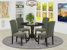 """East West Furniture DLEN5-BLK-20 5Pc Round 42"""" Kitchen Table With Two 9-Inch Drop Leaves And Four Parson Chair With Black Leg And Linen Fabric Dark Gotham Grey, 5"""