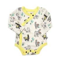Finn + Emma Organic Cotton Long Sleeve Baby Bodysuit - Llamas - 0-3 Months