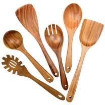 Wooden Utensils for Cooking, 6 Pack Organic Teak Wooden Spoons for Cooking Wood Utensil Set and Spatula for Kitchen