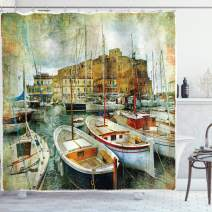"Ambesonne Marine Shower Curtain, Naples Small Boats at Historical Italian Coast with Heritage Castle Nautical Artwork, Cloth Fabric Bathroom Decor Set with Hooks, 75"" Long, Earth Yellow"