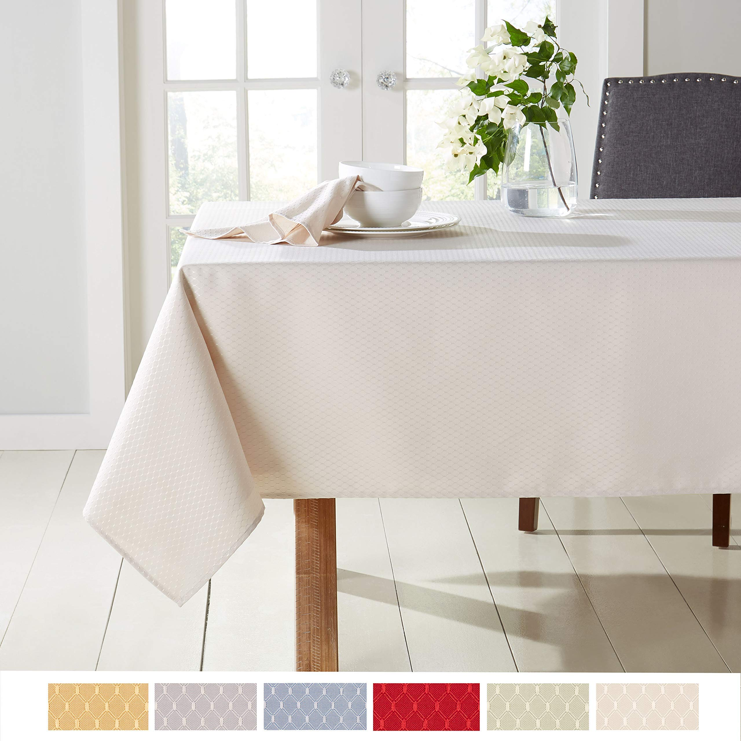 """Town & Country Living McKenna Spring Tablecloth, Stain Resistant Machine Washable Polyester, 60""""x102"""" Rectangle Cream"""