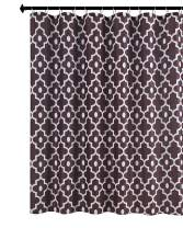Biscaynebay Extra Long Textured Fabric Shower Curtains, Morocco Pearl Printed Bathroom Curtains, Brown 72 in Width by 84 in Length