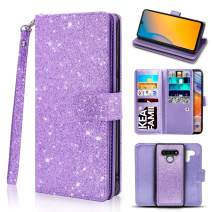Newseego Compatible LG Stylo 6 Leather Case 6.8inch,Glitter Faux PU Leather Magnetic Closure Multi-Credit Card Slot Cash Holder Detachable 2 in 1 Wallet Cover with Wrist Strap- Light Purple