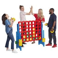 ECR4Kids Jumbo 4-to-Score Giant Game Set, Backyard Games for Kids, Jumbo Connect-All-4 Game Set, Indoor or Outdoor Game, Adult and Family Fun Game, Easy to Transport, 4 Feet Tall, Primary Colors (ELR-12507)