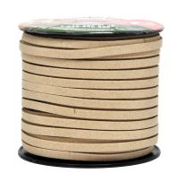 Mandala Crafts 50 Yards 5mm Wide Jewelry Making Flat Micro Fiber Lace Faux Suede Leather Cord (5mm, Tan)