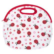 Funkins Insulated School Lunch Bag Tote for Kids - With Interior Pocket and Name Tag, Machine Washable, Easy to Pack, (Large Size) - Ladybugs White