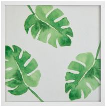 "Rivet Watercolor Green Leaf Print Wall Art in a White Wood Frame, 20"" x 20"""