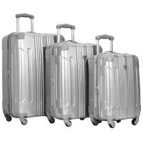"Travelers Club 20"" or 3 Piece Polaris Metallic Spinner Luggage Set, Silver, 28""/24"""