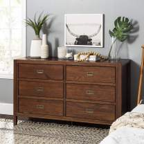 Walker Edison Traditional Simple Wood Accent Entryway Console Sideboard Living Room Storage Shelf, 6 Drawer, Walnut Brown