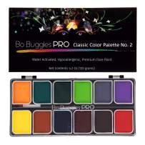 Bo Buggles Professional Face Paint Kit. Face Painting Palette No.2 Water-Activated Loved by Pro Painters for Vibrant Detailed Designs. 12x10 Gram Paints +2 Brushes. Safe Quality Makeup Paint Supplies