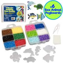 8,000 pc Fuse Bead Super Kit w/ Sea Animal Pegboards & Templates, Immediate Shipping - 12 colors, 6 Peg Boards, Tweezers, Ironing Paper, Case - Works with Perler Beads- Great Gift, Pixel Art Project
