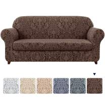 subrtex Sofa Slipcover 2-Piece Jacquard Damask Couch Cover with Seat Cushion Stretch Furniture Protector for Armchair in Living Room for Kids, Pets (Large,Brown)