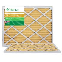 FilterBuy 24x25x1 MERV 11 Pleated AC Furnace Air Filter, (Pack of 2 Filters), 24x25x1 – Gold