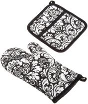 """DII Cotton Damask Oven Mitt 12 x 6.5"""" and Pot Holder 8.5 x 8"""" Kitchen Gift Set, Machine Washable and Heat Resistant for Cooking and Baking-Black"""