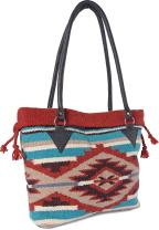 Handwoven Wool Malibu Purse with Genuine Leather handles. Large Eco Friendly Tote Bag, Native American Styles ((A) Terracota Pyramid)