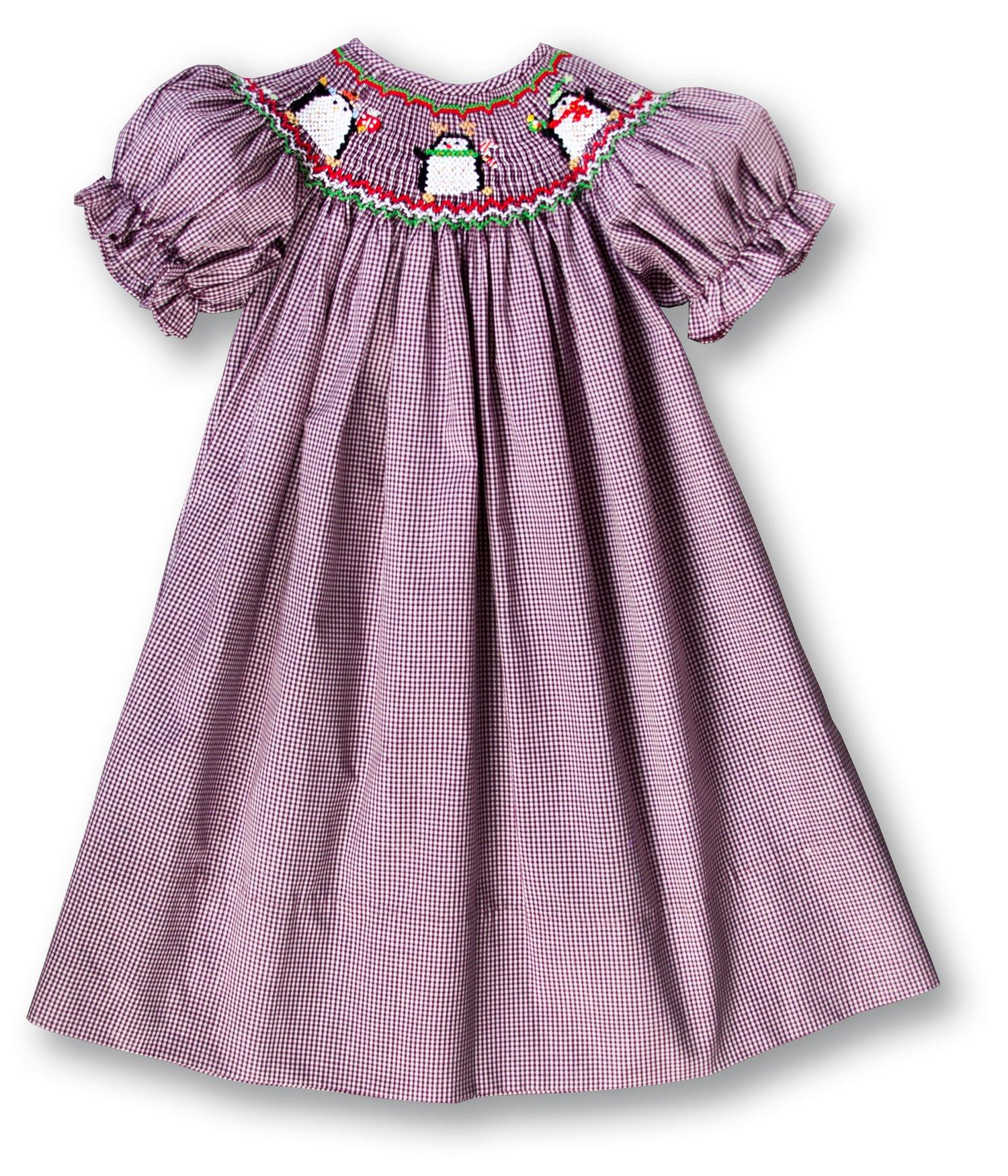 Rosalina Girl's Christmas Penguins Berry Red Gingham Smocked Bishop Dress 3T
