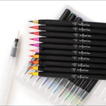 Brilliant Bee Real Brush Pens for Watercolor Painting, Drawing, Calligraphy, Water-Based Ink, 20 Vibrant Colors