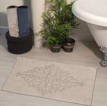 """Hand Woven 100% Cotton Damask Bath Rug Floor mat for Spa Vanity Shower Machine Washable Bath Rugs for Bathroom/Kitchen Water Absorbent Anti-Skid Bedroom Area Rugs (24"""" x 40"""", Taupe)"""