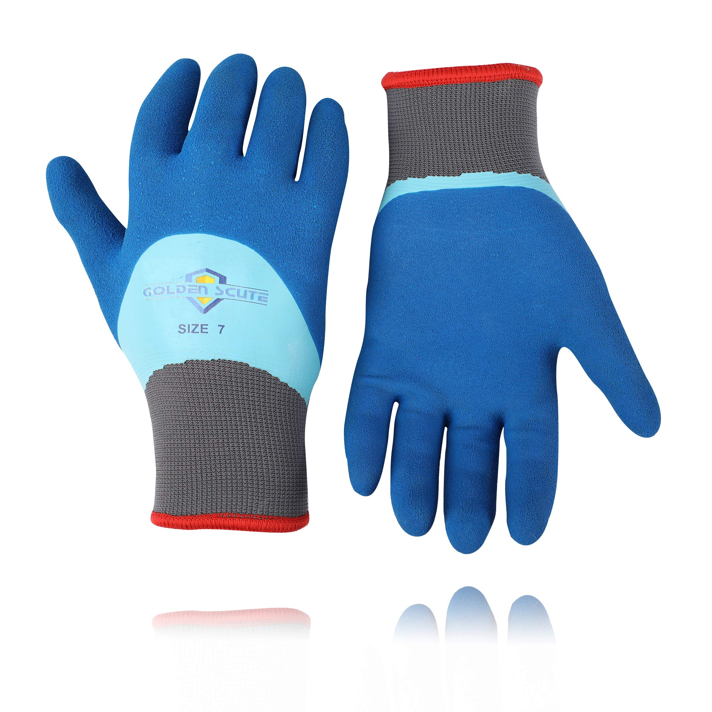 Golden Scute Freezer Winter Work Gloves,Fleece-Lined with Tight Grip Palms -Cold Temperatures, 6 pairs (Size 7,Small)