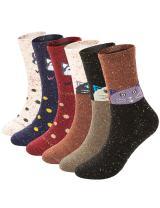6 Pack Womens Winter Warm Socks Soft Casual Thick Wool Crew Socks (Cute Wolf & Dot Cat(6 Pairs wool Socks))