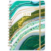 """2021 Planner - Weekly & Monthly Planner with Tabs, 6.3"""" x 8.4"""", Jan. - Dec. 2021, Hardcover with Back Pocket + Thick Paper + Banded, Twin-Wire Binding - Teal Gilding"""