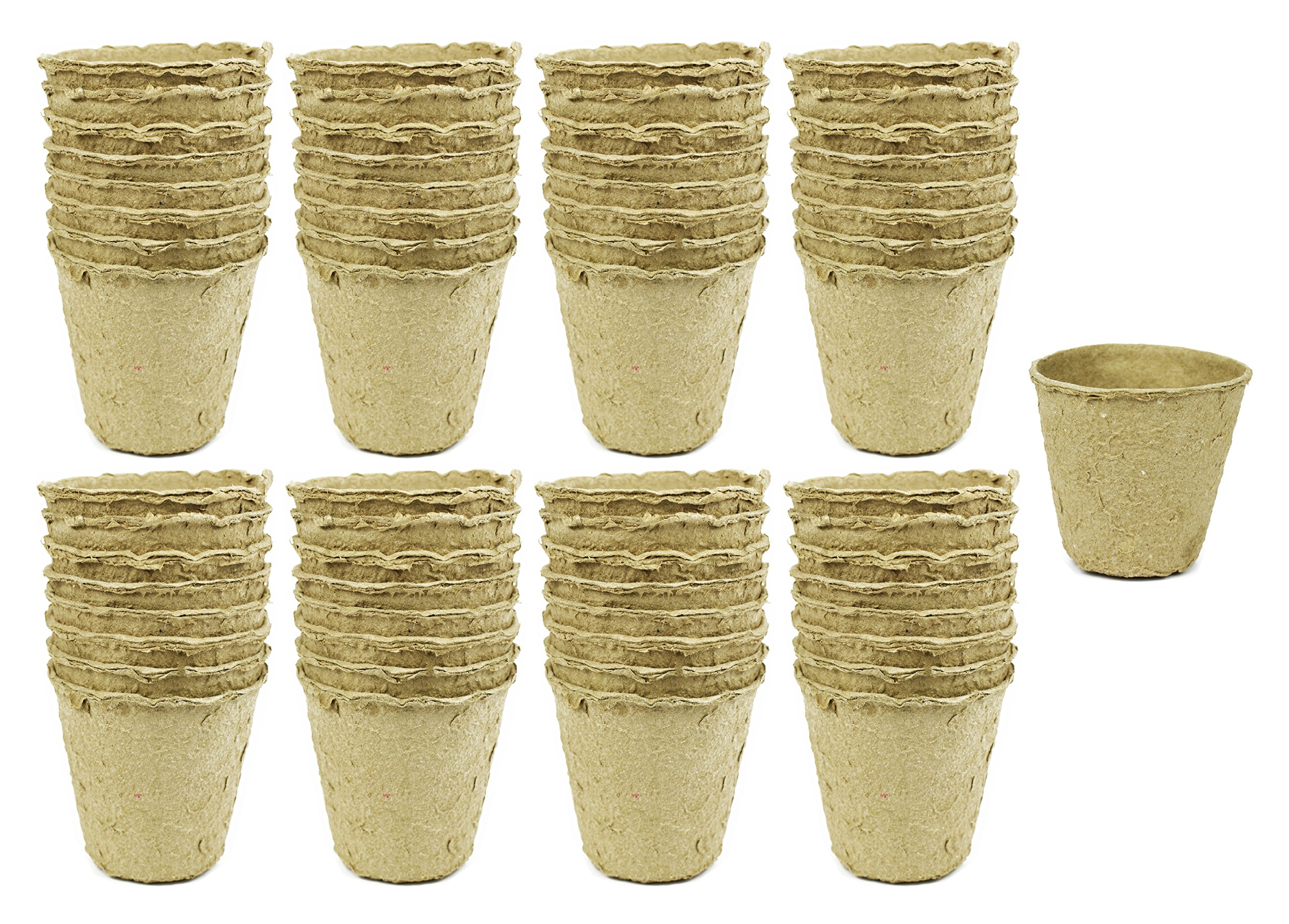 """Set of 64 Med Biodegradable Eco Friendly Peat Pots! 3"""" 12 Pot Tray - Recycled Non Bleached Peat Pots Perfect for Seed Germination! No Transplanting Required - No More Damaged Roots!"""