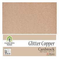 """Glitter Copper Cardstock - 12 x 12 inch - .016"""" Thick - 20 Sheets"""